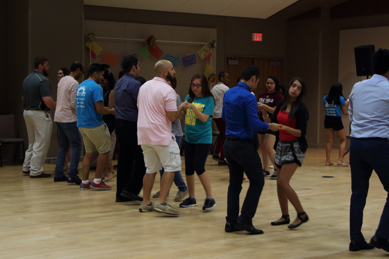 Students dancing at Latin Dance Night event