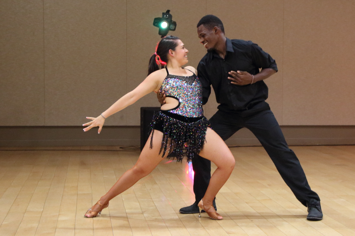 Dancing at Latin Dance Night event